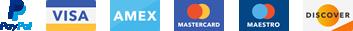 Pagos seguros con Visa, Mastercard, Maestro, American Express y PayPal